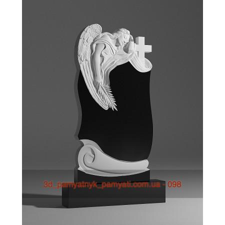 Резной памятник гранитный ангел склонился к кресту и пергамент (120х60)