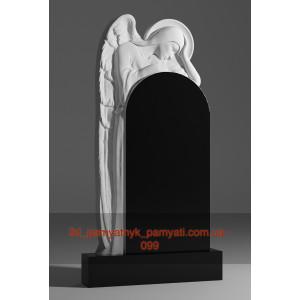 Купить резной памятник гранитный ангел над аркой (120х60)