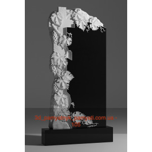 Купить резной памятник гранитный с виноградом и крестом (120х60)