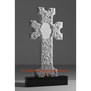 Купить резной памятник гранитный крест из роз (120х60)
