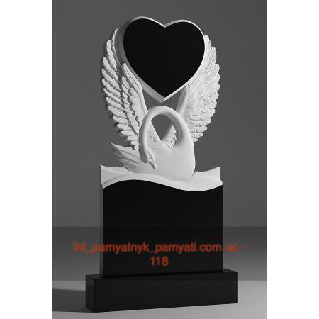 Резной памятник гранитный c лебедем и сердцем (120х60)