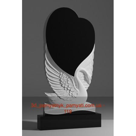 Резной памятник гранитный лебедь и сердце большое (130х70)