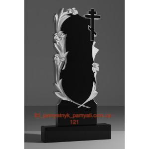 Купить резной памятник гранитный четыре лилии с крестом (120х60)
