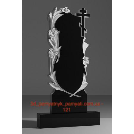 Резной памятник гранитный четыре лилии с крестом (120х60)
