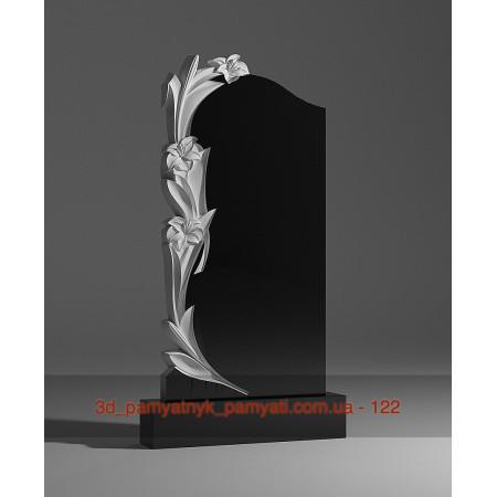 Резной памятник гранитный три лилии (120х60)