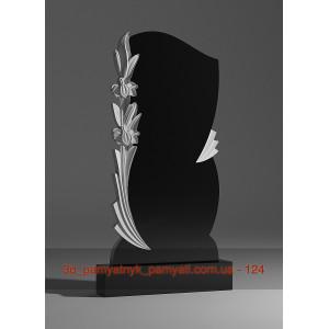 Купить резной памятник гранитный две лилии  (120х60)