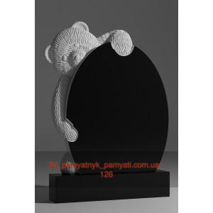 Купить резной памятник детский медведь и овал (120х60)