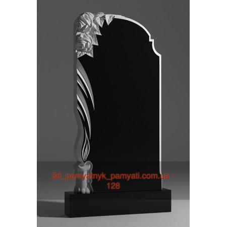 Резной памятник гранитный две розы и свеча (120х60)