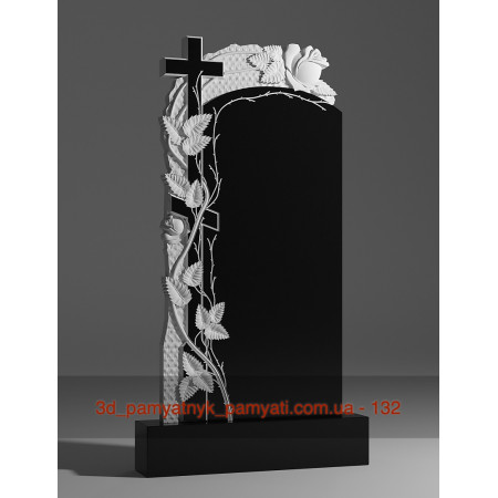 Резной памятник гранитный с розами и крестом (120х60)