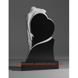 Купить резной памятник гранитный скорбящая мать и сердце (120х60)