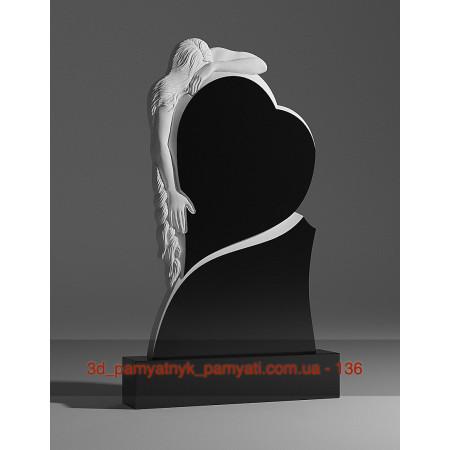 Резной памятник гранитный скорбящая мать и сердце (120х60)