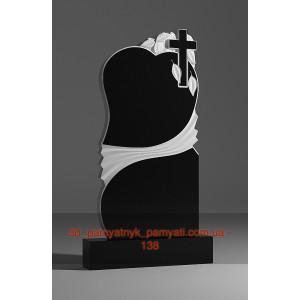 Купить резной памятник гранитный с сердцем и крестом (120х60)