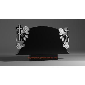 Купить резной памятник из гранита с розами и крестом (двойной)