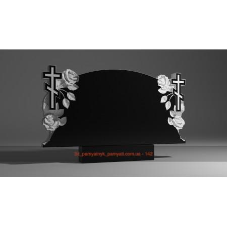 Резной памятник из гранита с розами и крестом (двойной)