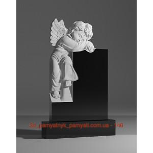 Купить резной памятник гранитный детский с ангелом мальчиком (90х45)