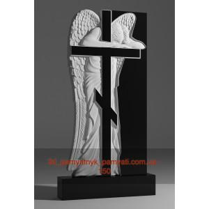 Купить резной памятник из гранита с крестом и ангелом (140х80)
