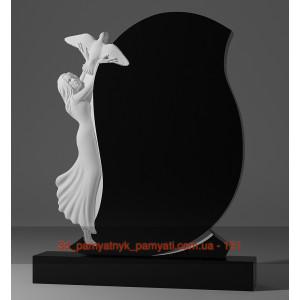 Купить резной памятник из гранита с девушкой и голубем (120х60)