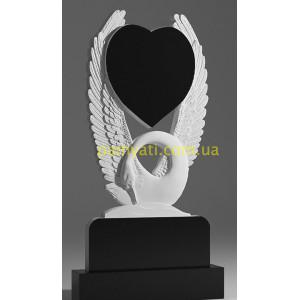 Купить резной памятник гранитный с лебедем и сердцем на крыльях (120х60)