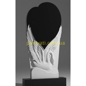 Купить резной памятник гранитный с лебедем и сердцем большим правый (120х60)