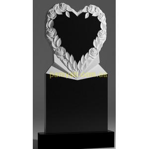 Купить резной памятник гранитный сердце с розами вокруг с подставкой (120х60)