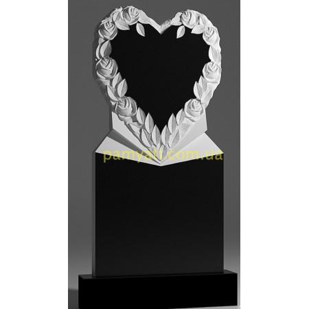 Резной памятник гранитный сердце с розами вокруг с подставкой (120х60)