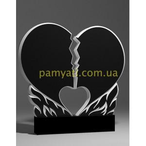 Купить резной памятник гранитный сердце расколотое в огне (двойной)