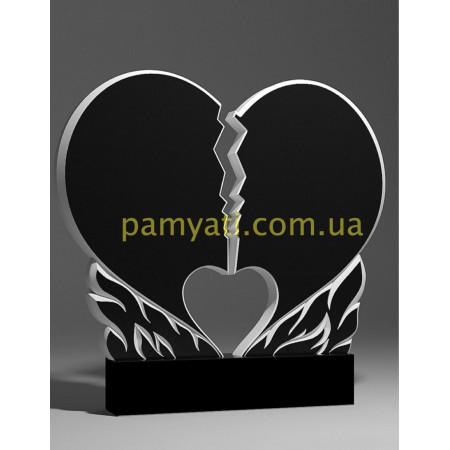 Резной памятник гранитный сердце расколотое в огне (двойной)