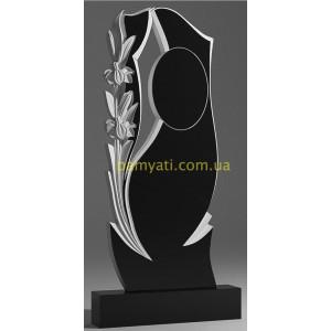 Купить резной памятник гранитный с овалом лилией и вырезом (120х60)