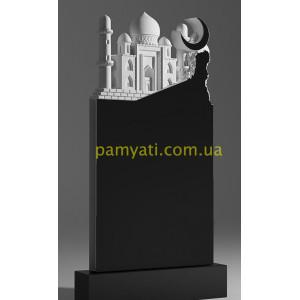 Купить резной памятник гранитный барельеф мечети с полумесяцем (120х60)
