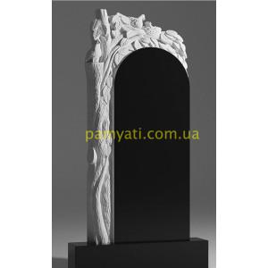 Купить резной памятник гранитный ветка березы с голубем (120х60)