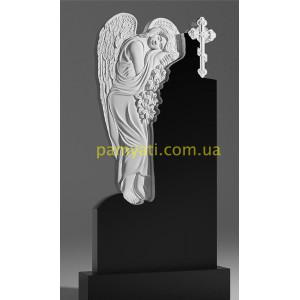 Купить резной памятник гранитный ангел склонился к кресту резному (120х60)