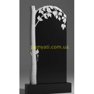 Купить резной памятник гранитный с березой сверху (120х60)