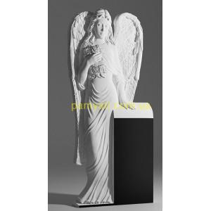 Купить резной памятник гранитный ангел с цветами стоит (120х60)