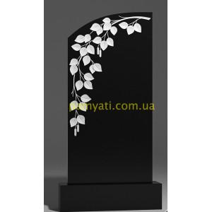 Купить резной памятник гранитный ветка березы на памятнике (120х60)