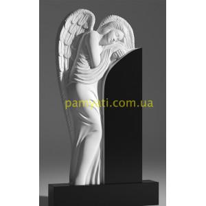 Купить резной памятник с ангел склонился над памятником (120х60)